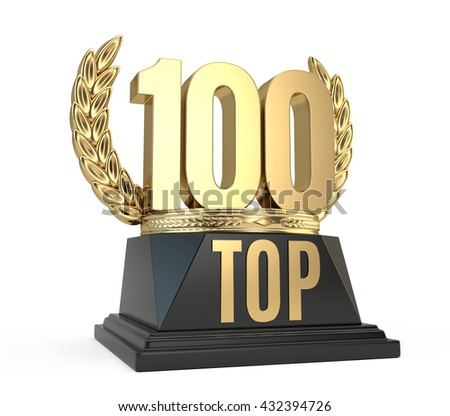 Top 100 hundred award cup symbol isolated on white background. 3d render - stock photo
