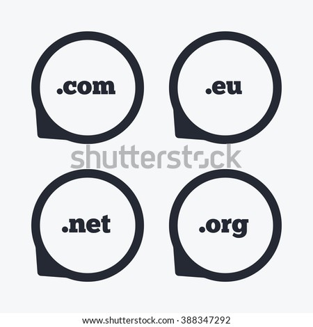 Top-level internet domain icons. Com, Eu, Net and Org symbols. Unique DNS names. Flat icon pointers. - stock photo