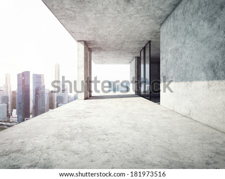 Top level terrace in contemporary office - stock photo