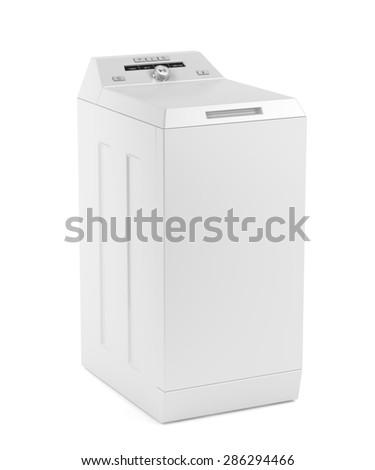 Top loading washing machine on white background - stock photo