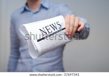 top news on a newspaper page - stock photo