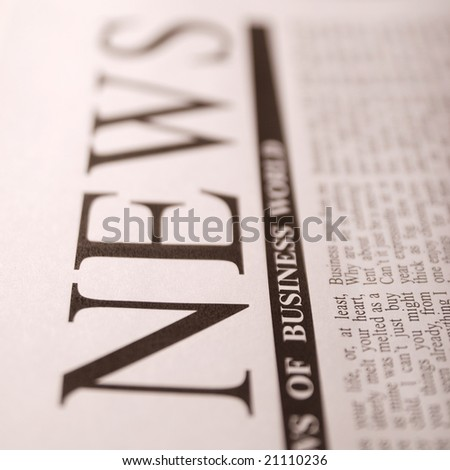 "top news on a newspaper page note: ""news"" is a not real newspaper - stock photo"