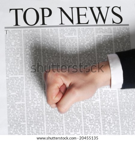 "top news on a newspaper page. note: ""top news"" is a not real newspaper - stock photo"