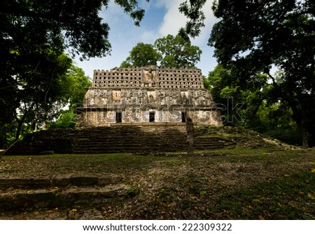 Top of a pyramid in Yaxchilan, Mexico - stock photo