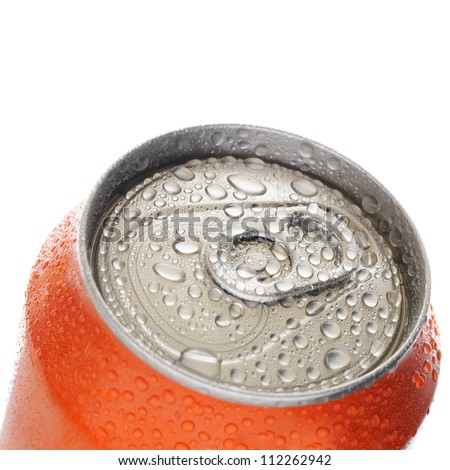 Top of aluminum can with drops of water isolated on white background - stock photo