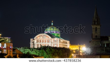 Top of Amazon Theater at night in Manaus, Brazil - stock photo