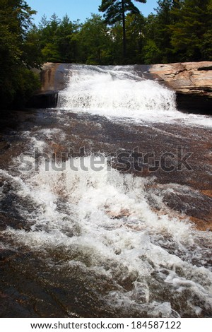 "Top of Bridal Veil Falls in DuPont State Forest near Brevard, North Carolina in Transylvania County, ""Land of Waterfalls."""