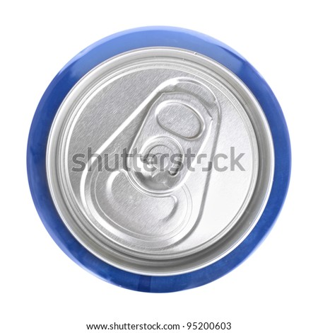 Top of drink can isolated - stock photo
