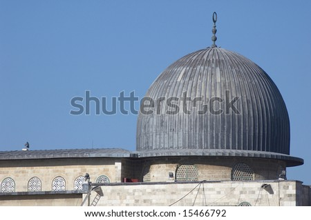 top of El-Aksa mosque in Old City of Jerusalem - stock photo