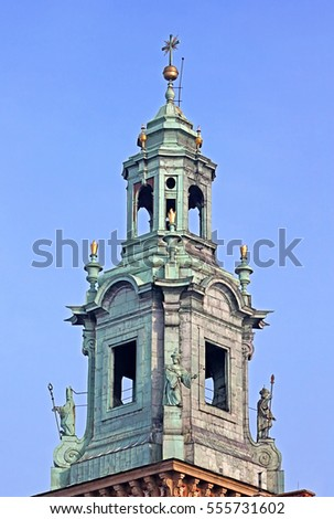 Top of he Royal Archcathedral Basilica of Saints Stanislaus and Wenceslaus on the Wawel Hill, Krakow, Poland