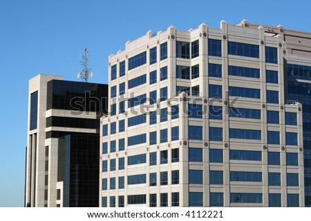 Top of high-rise office buildings - stock photo