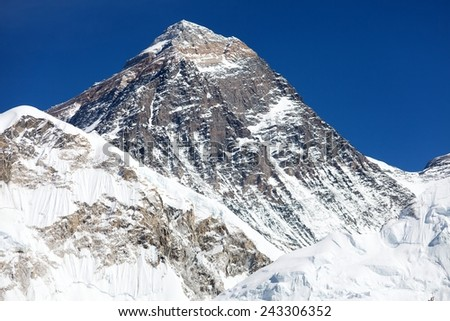 Top of Mount Everest - way to Everest base camp - Nepal - stock photo