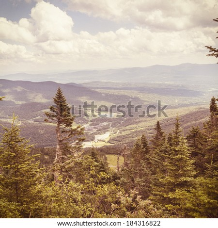 Top of Mount Mansfield in Vermont, instagram style - stock photo