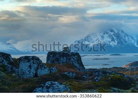 Top of mountain on island Skrova - stock photo