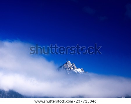 top of mountain wendelstein  - stock photo