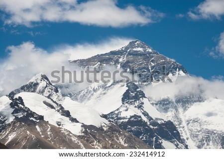 Top of Mt. Everest from Tibet side - stock photo