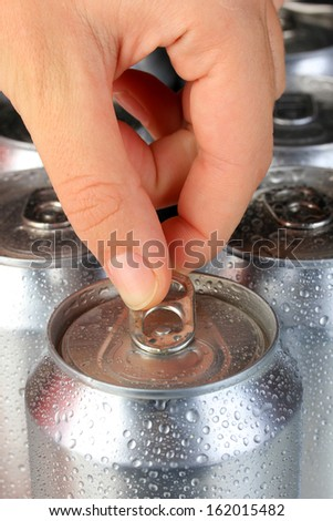 Top of open wet beer can close up - stock photo