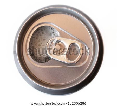 Top of opened aluminum beer can. - stock photo