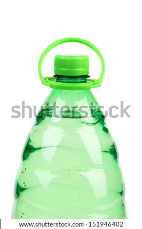 Top of plastic bottle with water without label. - stock photo