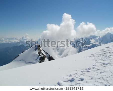 Top of Pointe Burnaby (4 134 m) from Bishorn (4 153 m), Wallis Alps - stock photo