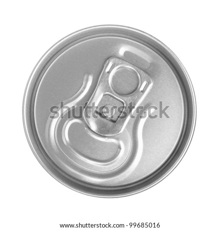 Top of silver drink can isolated - stock photo