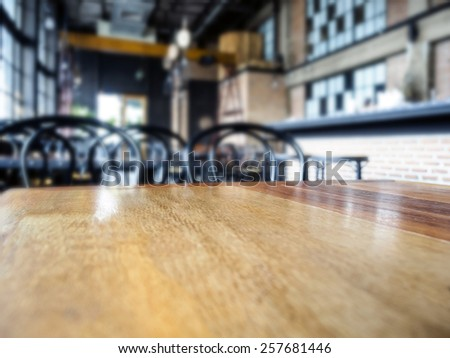 Top of table with Blurred Bar Restaurant background