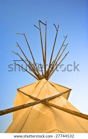 Top of tepee from below - stock photo