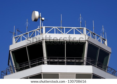 Top of the airport control tower - stock photo