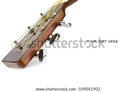 top of the guitar neck over white background, for entertainment or concert themes - stock photo