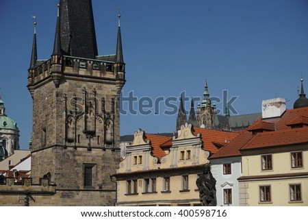 Top of the Prague castle above the red roofs in the capital city of the Czech Republic, Prague