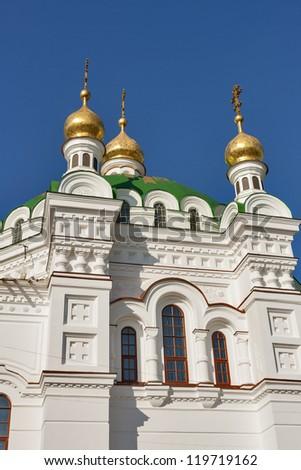 Top of the Refectory Church of the Kiev Pechersk Lavra in Kiev, Ukraine. - stock photo