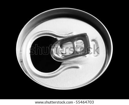 Top of the tin. Isolated on black - stock photo
