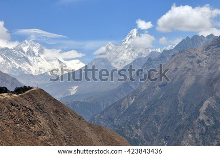 Top of the world - Mount Everest, Lhotse Nuptse and Ama Dablam summits. Himalayas mountain panorama - Sagarmatha National Pary, Nepal. - stock photo