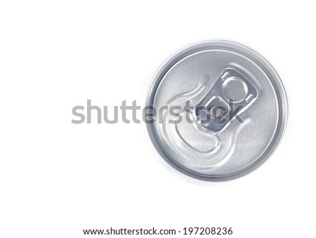 top of view of metal aluminum beverage drink can on white background - stock photo