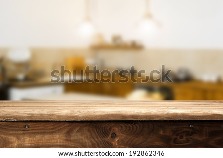 top of wood and retro kitchen space  - stock photo