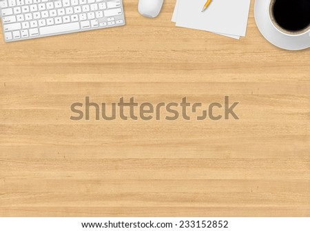 Top office table with cup of coffee, papers, pencil, mouse and keyboard - stock photo