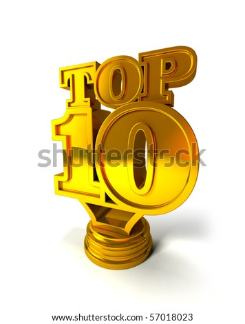 Top 10 on white background isolated - stock photo