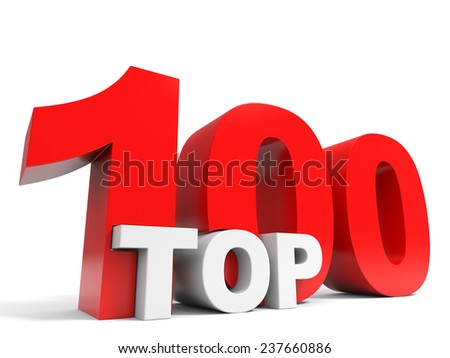 Top 100. One hundred. 3D illustration. - stock photo