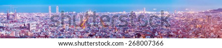 Top panoramic view of Barcelona in evening.  Spain - stock photo