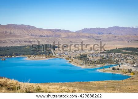 top scenic of Lake Tekapo from Mount John observatory hill, New Zealand - stock photo