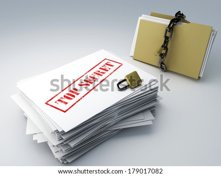 top secret archive and folder - stock photo