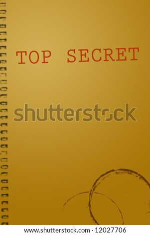 Top secret document illustration background with coffee stains - stock photo