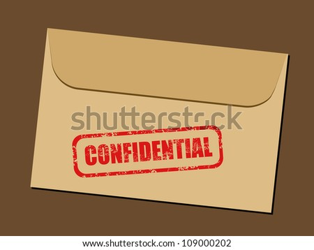 Top secret document in envelope. Rubber stamp - grungy illustration with text Confidential. - stock photo