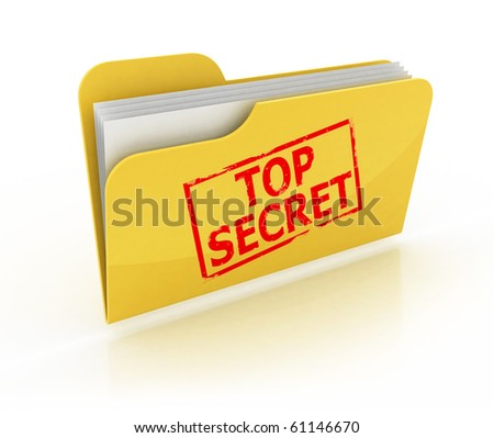 top secret folder icon over the white background - stock photo