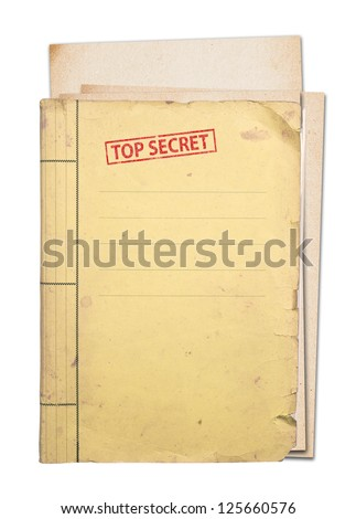 top secret folder isolated, clipping path. - stock photo