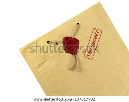 Top secret mail with knotted rope and wax seal - stock photo