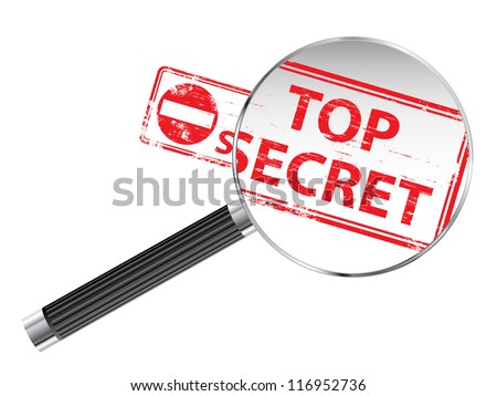 Top Secret rubber stamp under a magnifying glass - stock photo