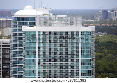 Top section of highrise buildings - stock photo