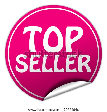 top seller pink round sticker on white background - stock photo