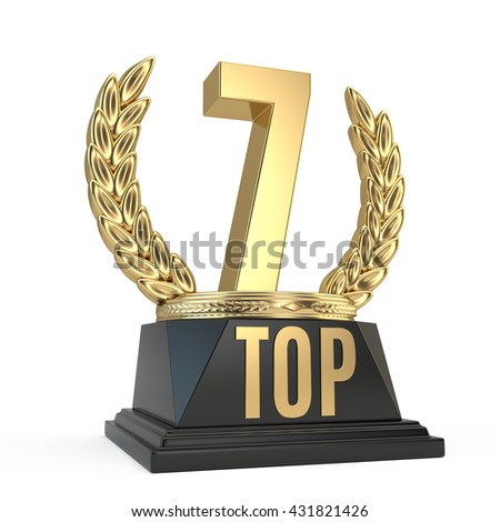 Top 7 seven award cup symbol isolated on white background. 3d render - stock photo
